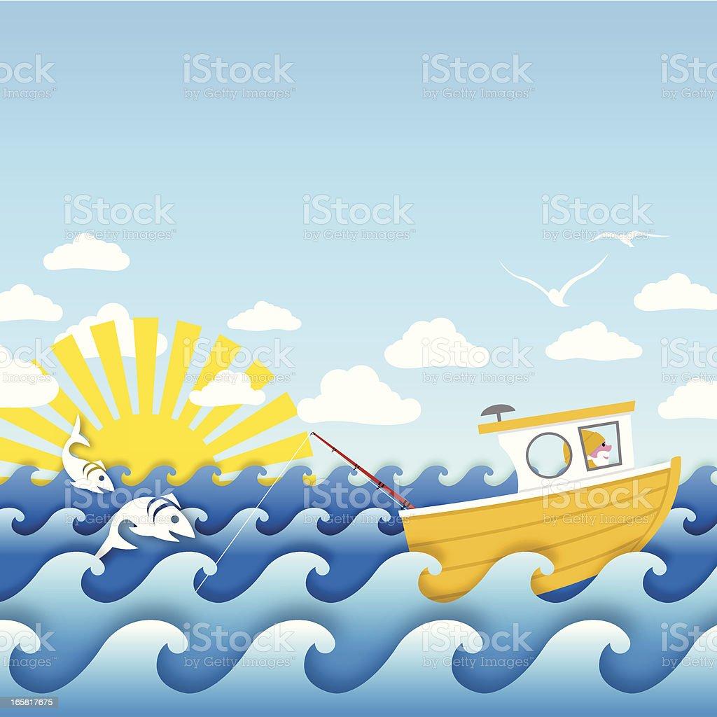Jolly fisherman fishing at sea vector art illustration