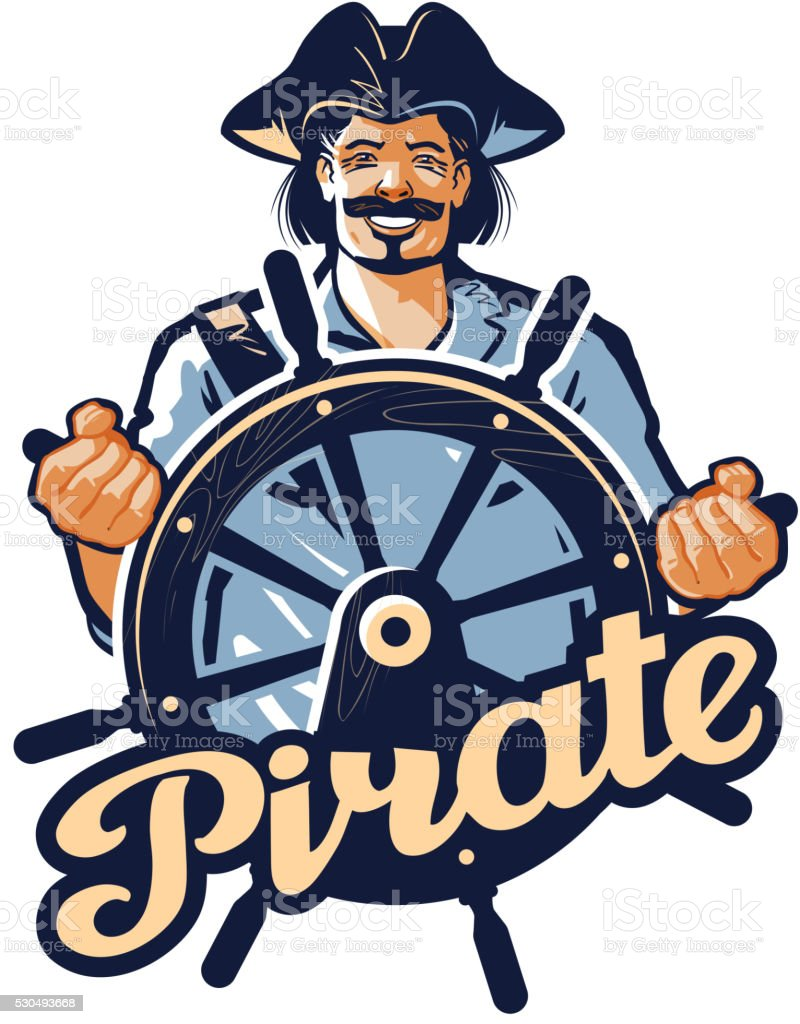 Jolly pirate at the helm of the ship. vector illustration vector art illustration