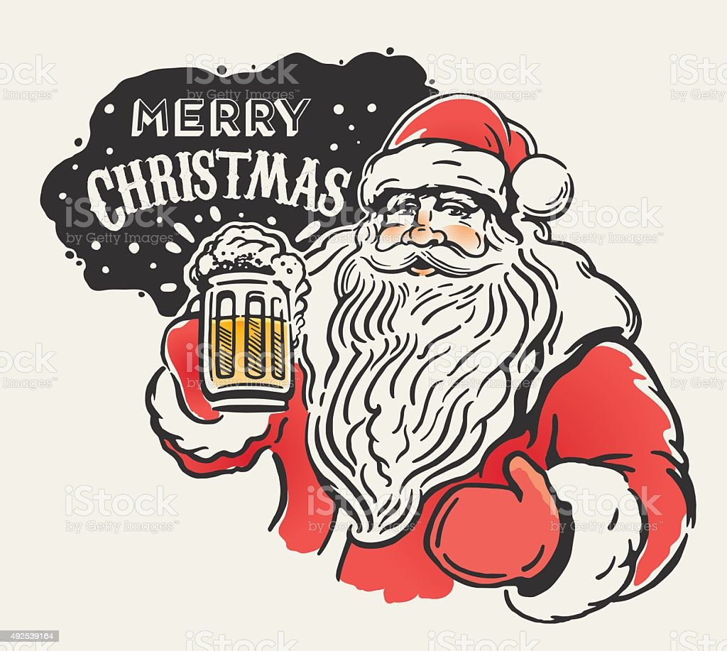 Jolly Santa and beer. vector art illustration