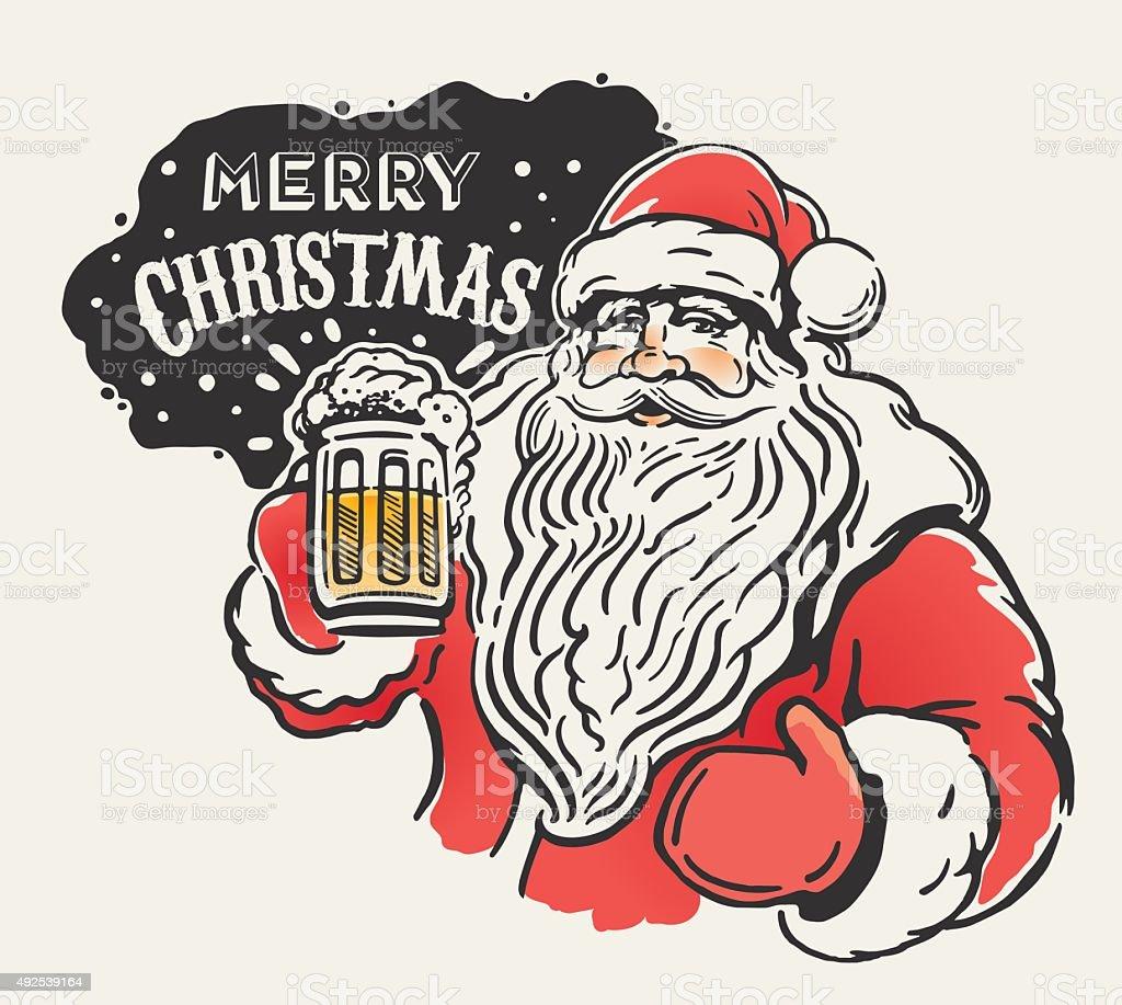 Jolly Santa and beer. vector art illustration