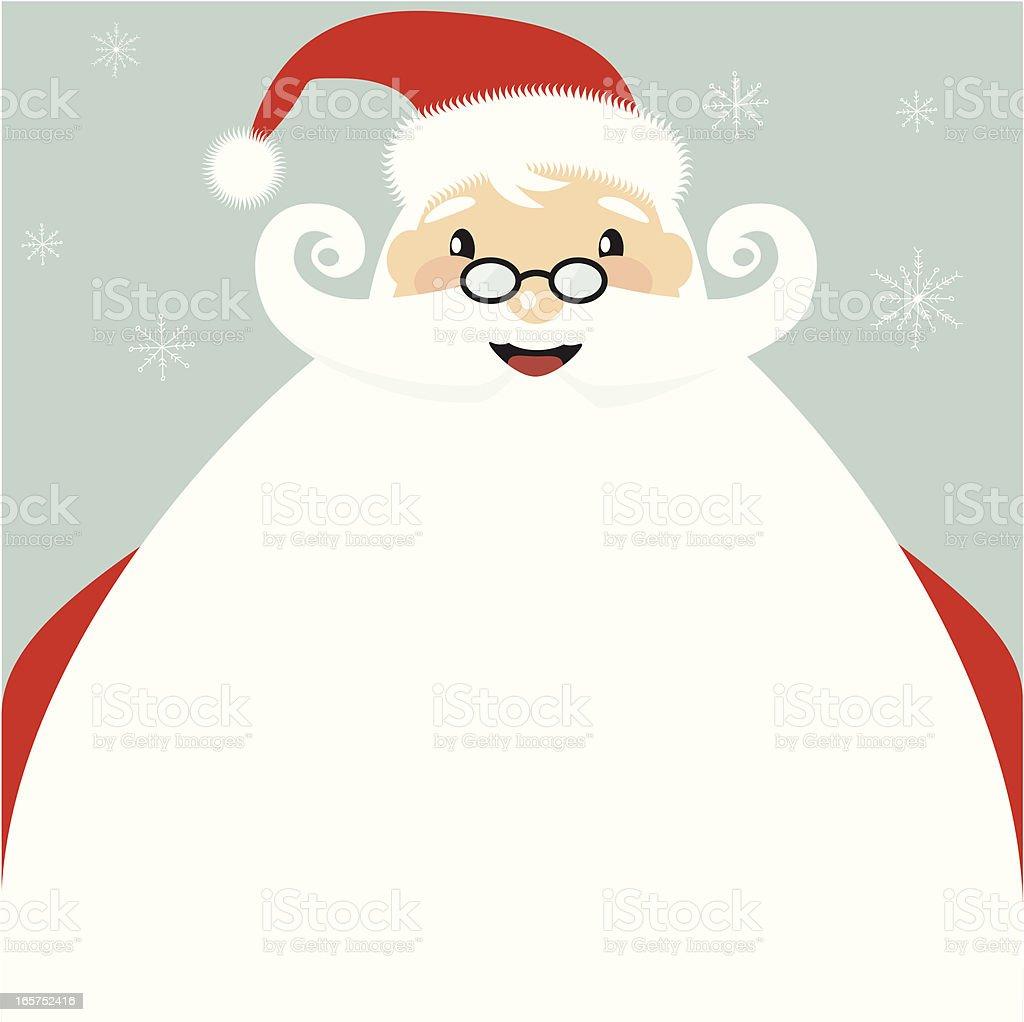 Jolly Santa clause cartoon with giant beard vector art illustration
