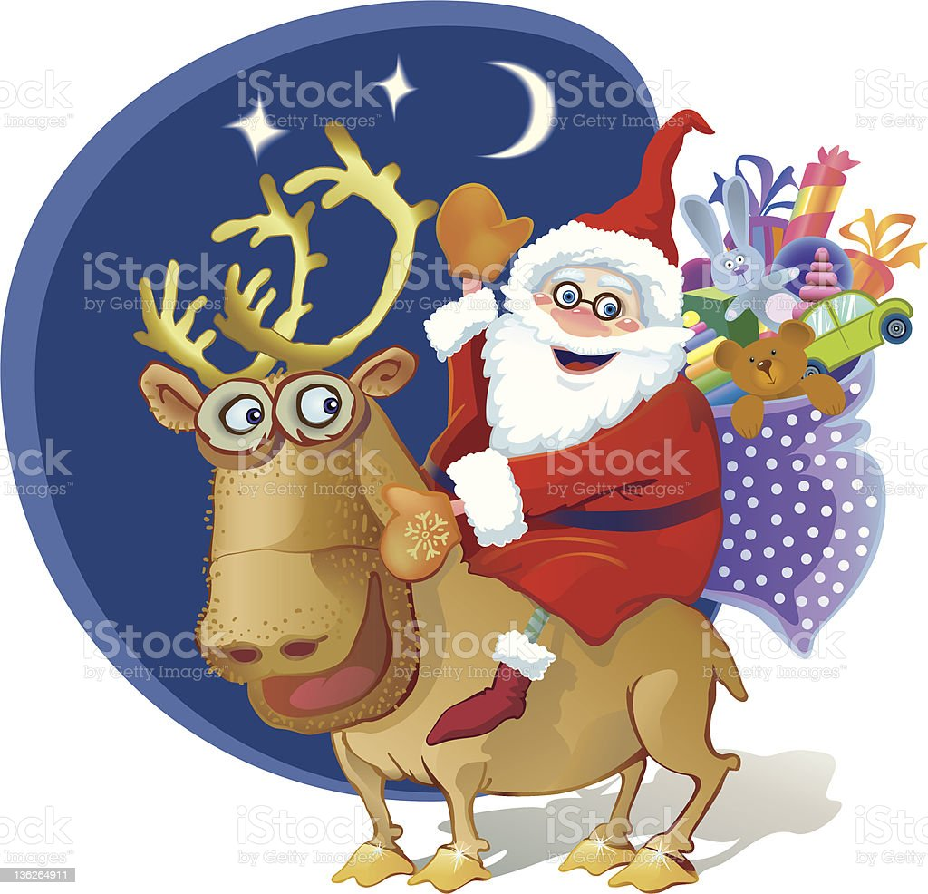 Jolly Santa riding a reindeer. Bag of gifts for children royalty-free stock vector art