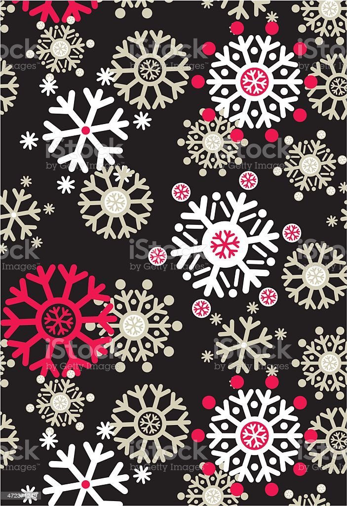 Jolly Snowflake Repeat Pattern in Black royalty-free stock vector art