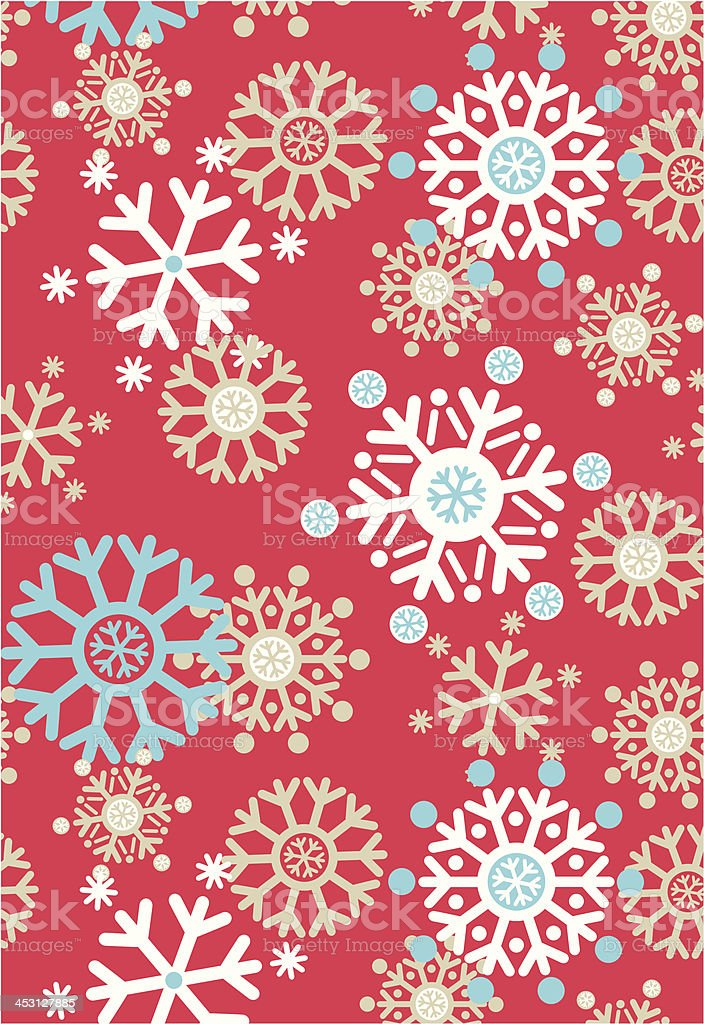 Jolly Snowflake Repeat Pattern in Red royalty-free stock vector art