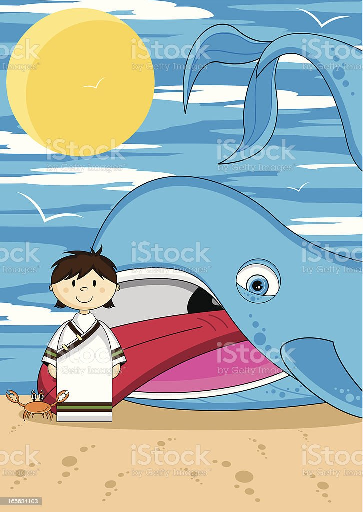 Jonah and the Whale Bible Scen vector art illustration