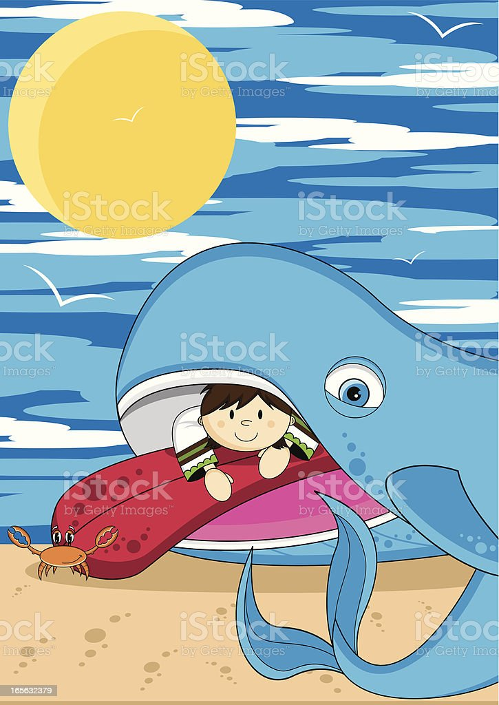 Jonah and the Whale Bible Scene royalty-free stock vector art