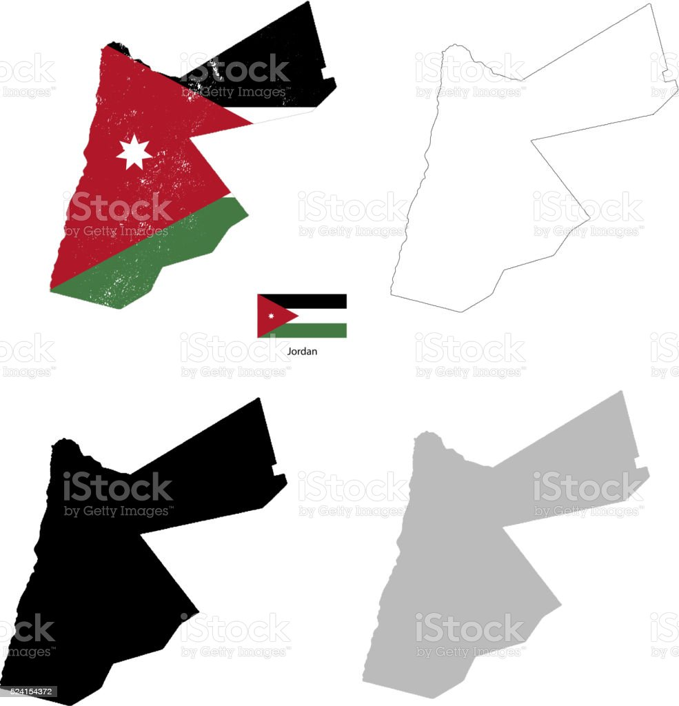 Jordan country black silhouette and with flag on background vector art illustration