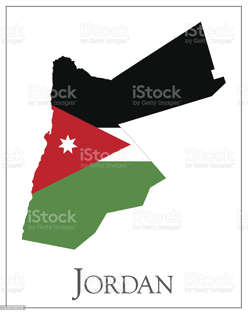 Jordan flag map royalty-free stock vector art