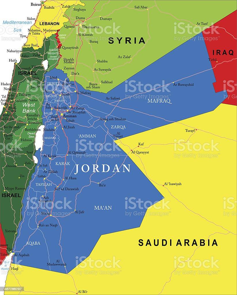 Jordan map vector art illustration