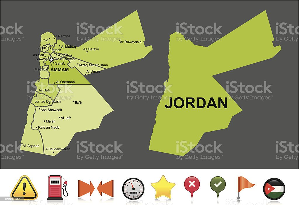 Jordan navigation map royalty-free stock vector art