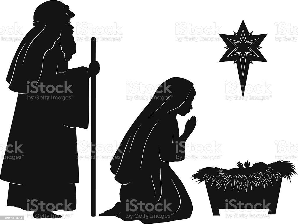 Joseph, Mary, and Jesus royalty-free stock vector art