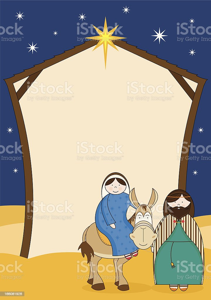 Joseph, Mary and Mule arriving at a Barn Scene royalty-free stock vector art