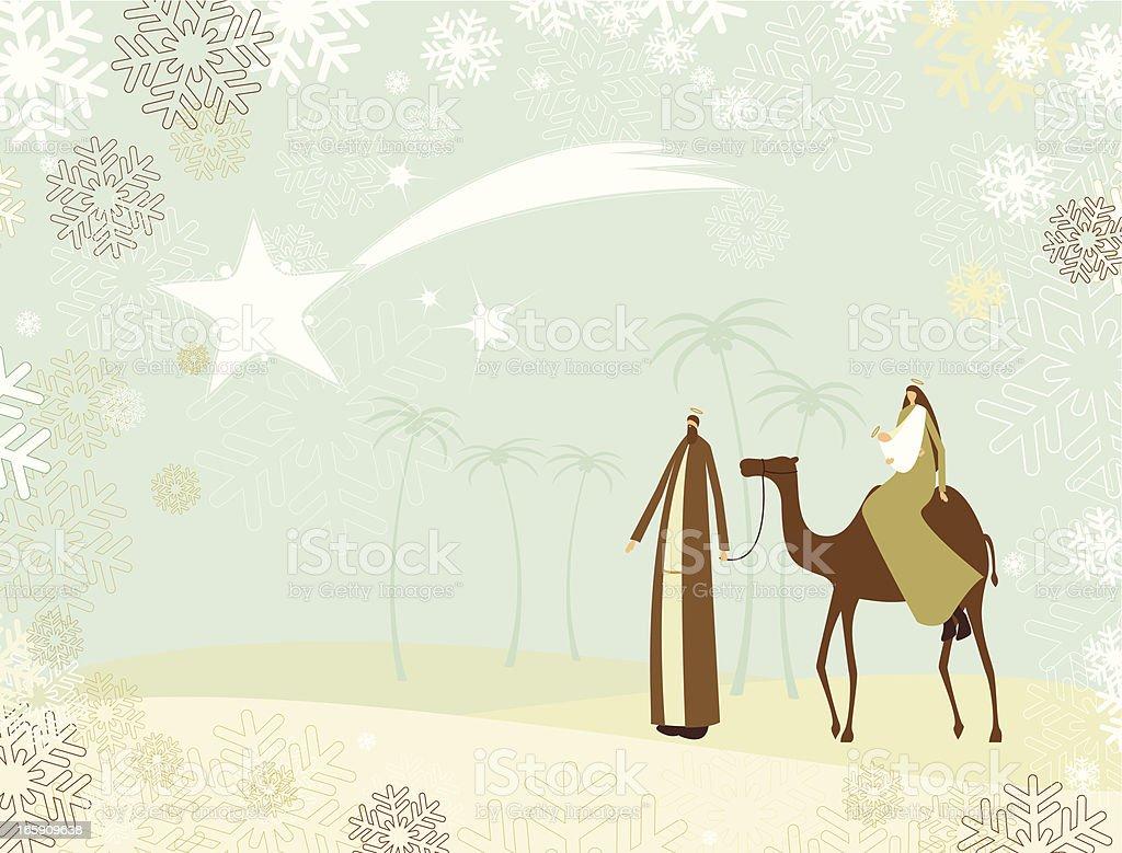 Joseph, Mary and the baby Jesus royalty-free stock vector art