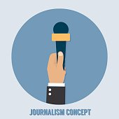 Journalism concept. Microphone, interview
