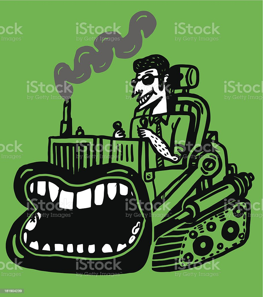 journalist in bulldozer dozer royalty-free stock vector art