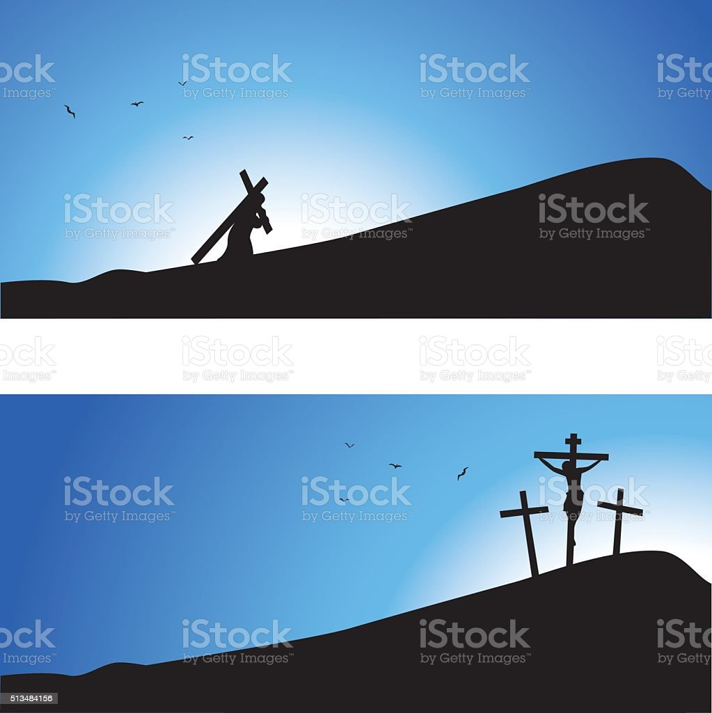 Journey to Calvary vector art illustration