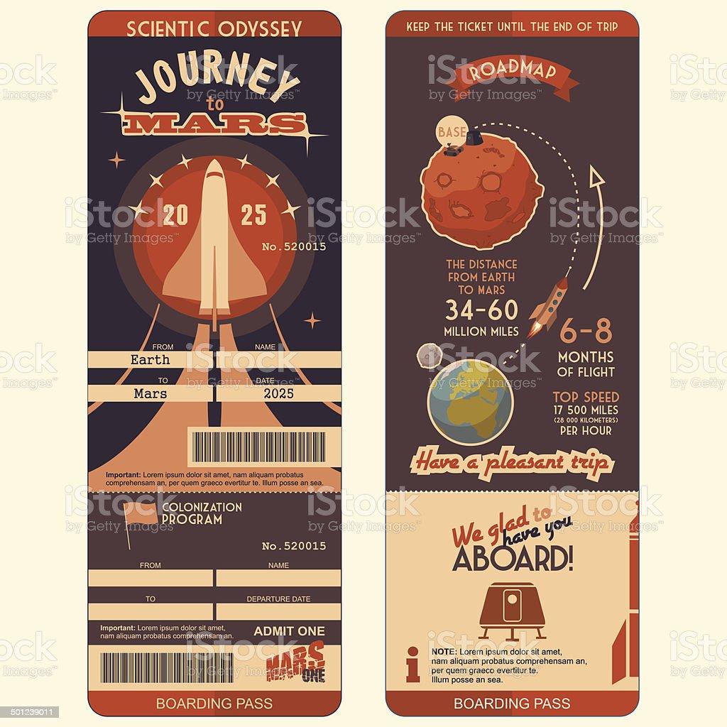 Journey to Mars boarding pass vector art illustration