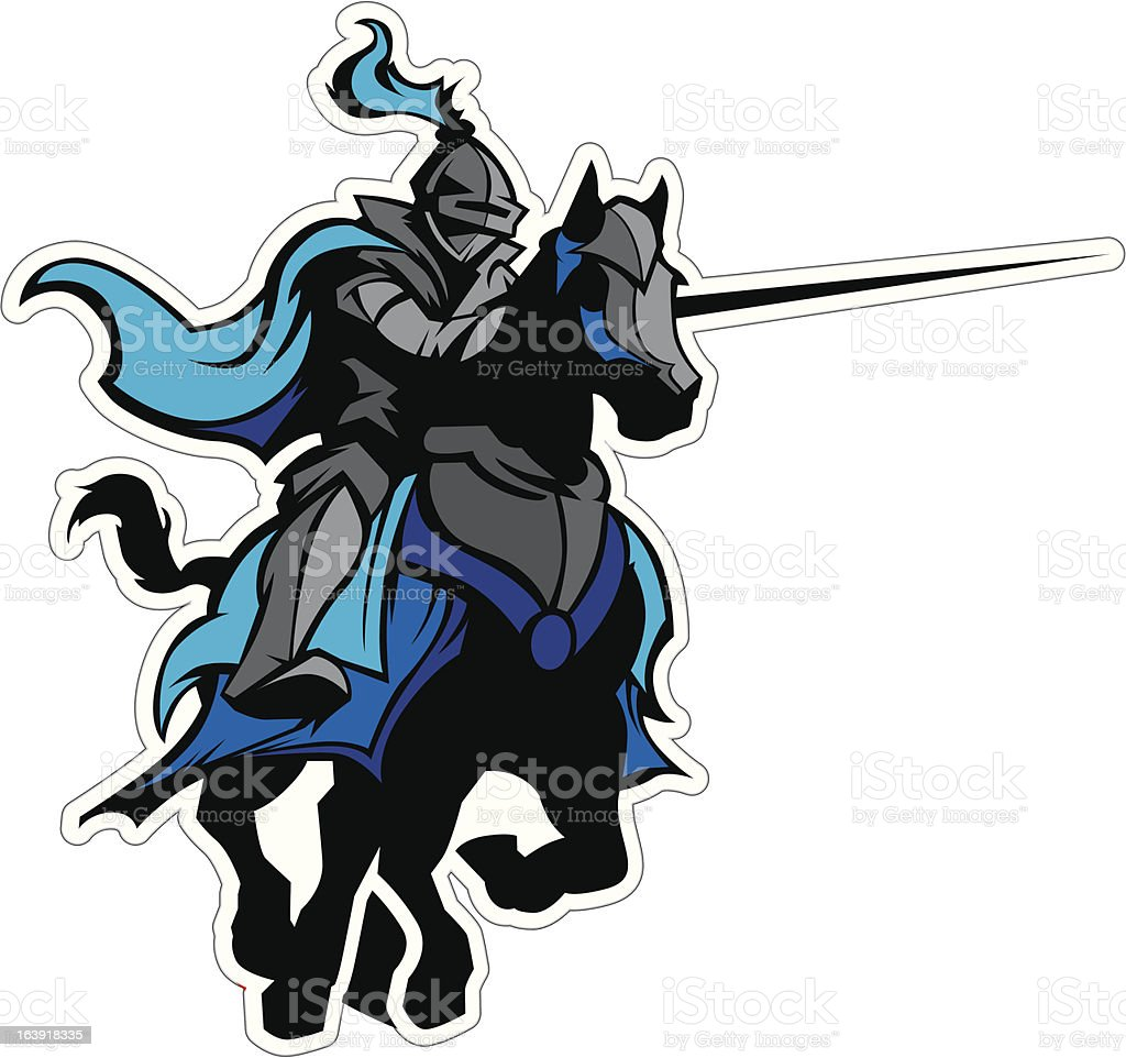 Jousting Blue Knight Mascot on Horse vector art illustration