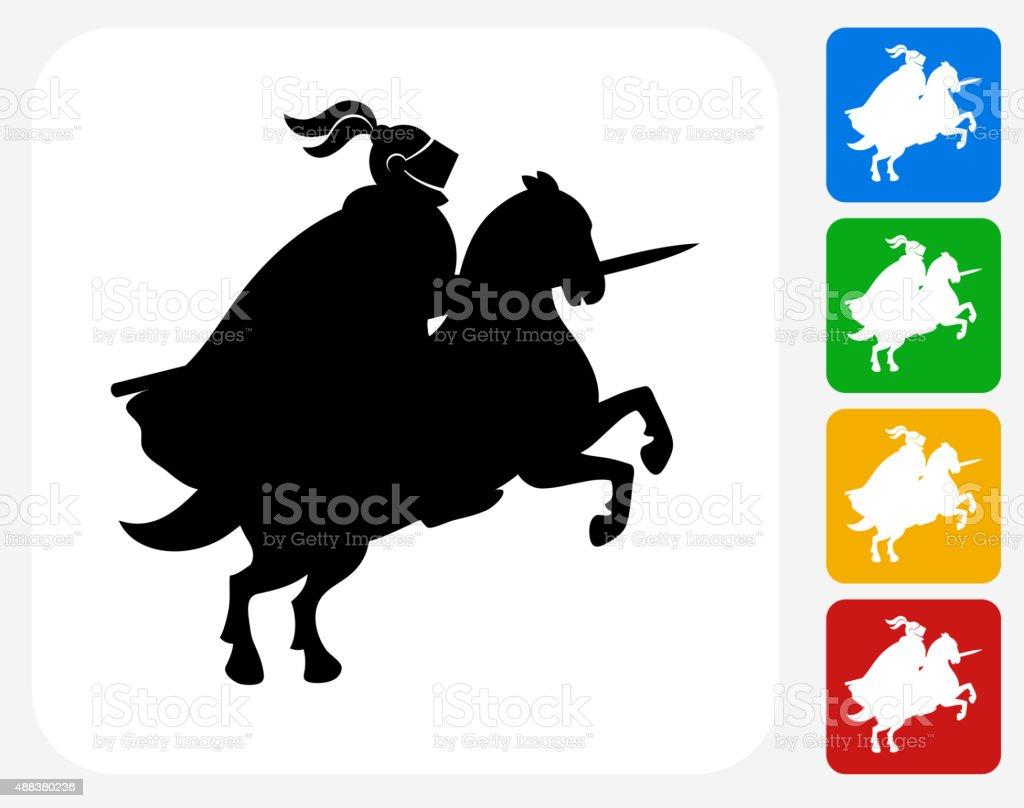 Jousting Knight Icon Flat Graphic Design vector art illustration