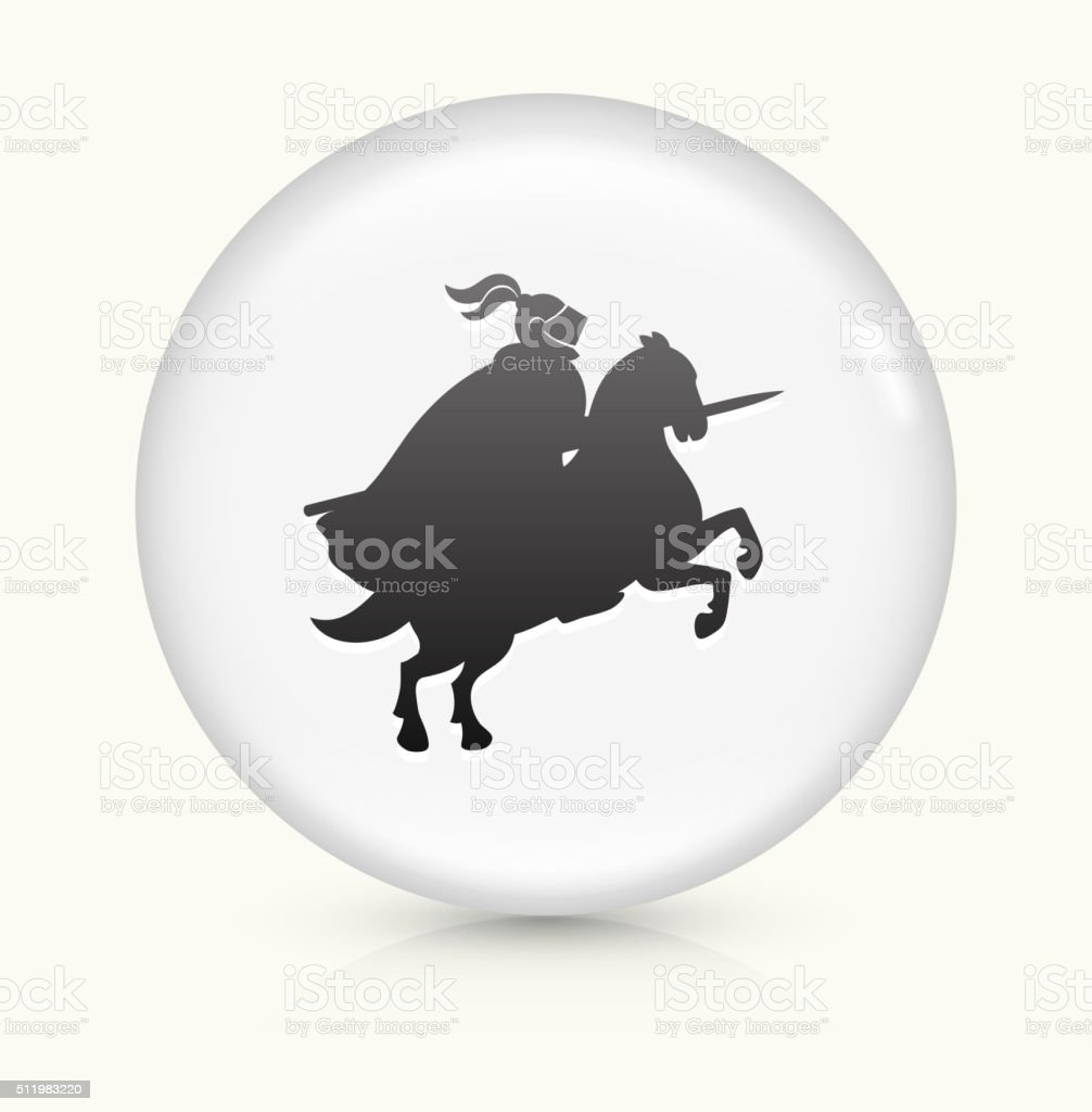Jousting Knight icon on white round vector button vector art illustration