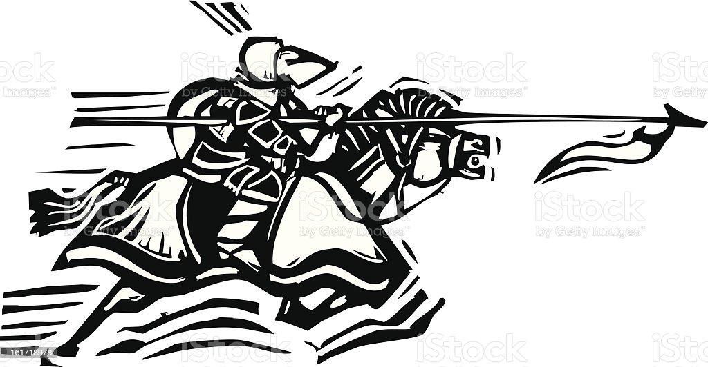 Jousting Knight Left royalty-free stock vector art