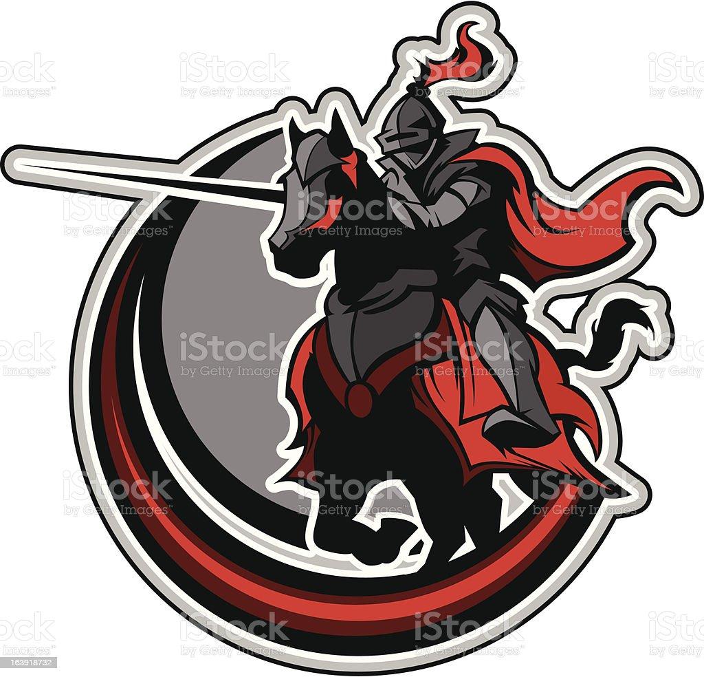 Jousting Knight Mascot on Horse vector art illustration