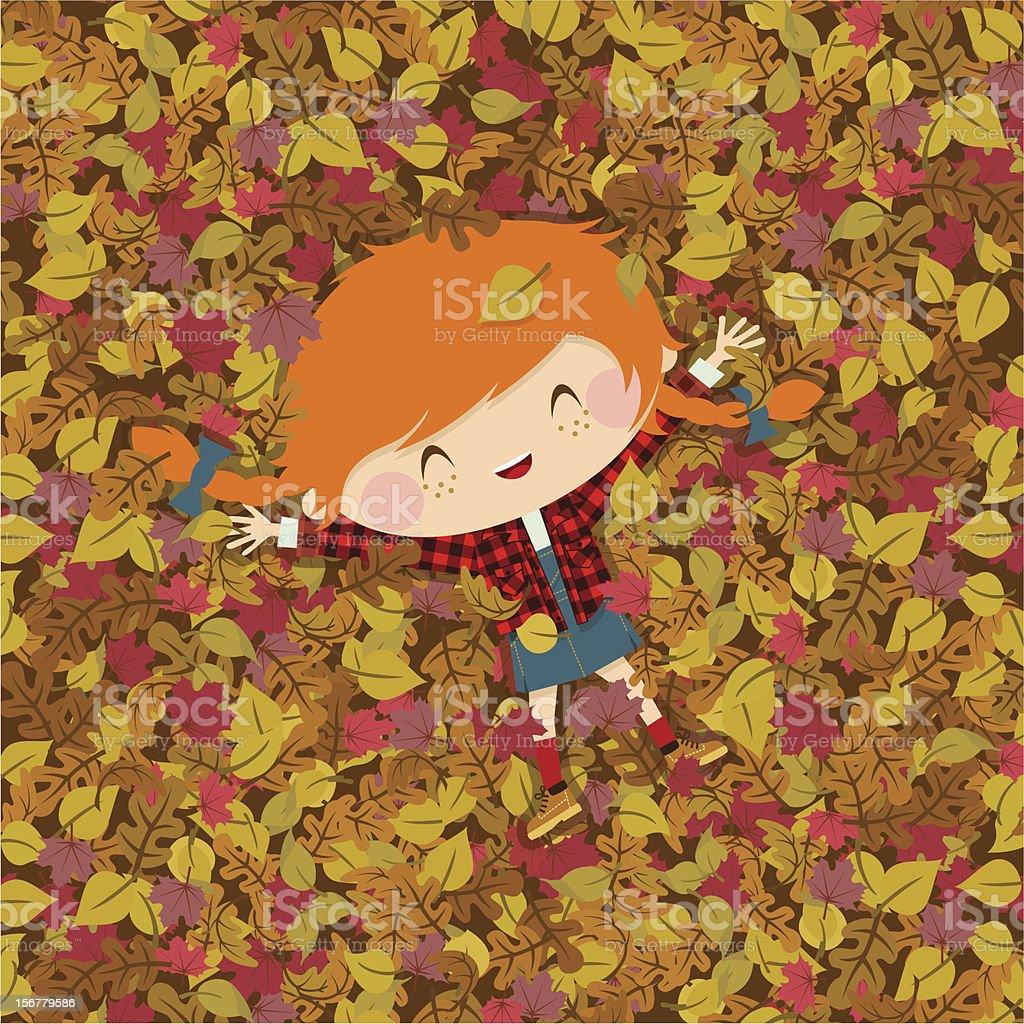 Joy autumn. girl fall illustration vector vector art illustration