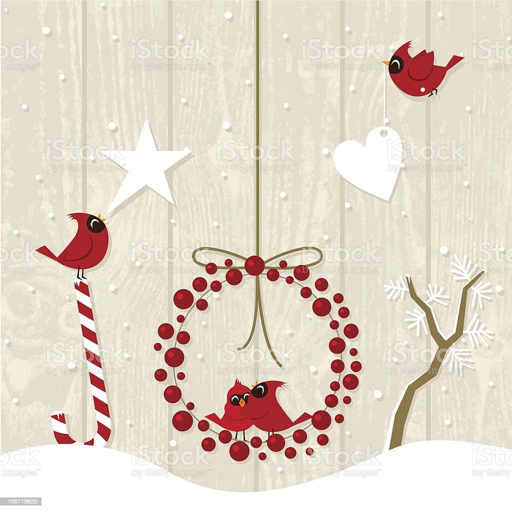 joy christmas and cardinal birds vector art illustration