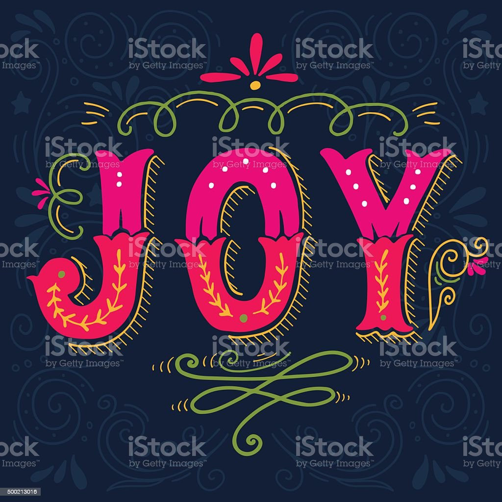 Joy. Merry Christmas retro poster with hand lettering vector art illustration