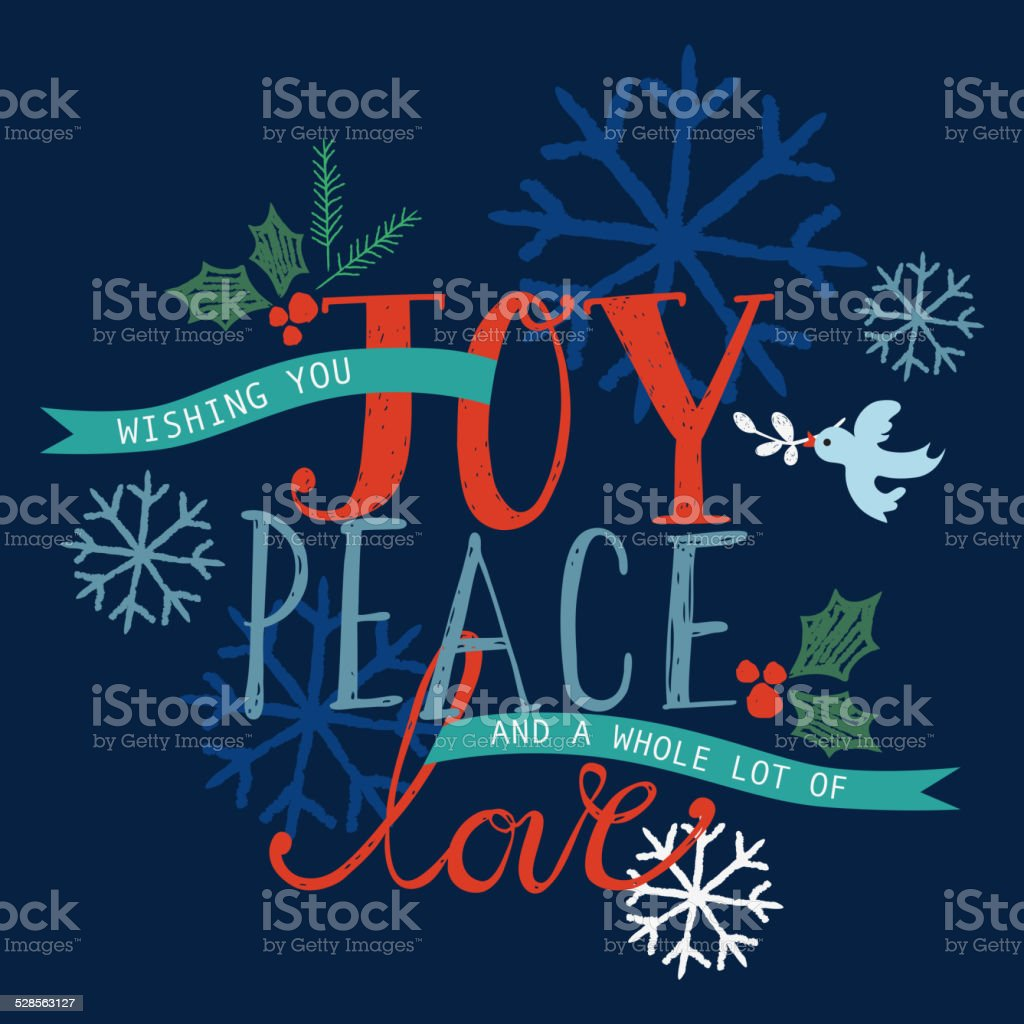 Joy, Peace and Love Holiday Card vector art illustration
