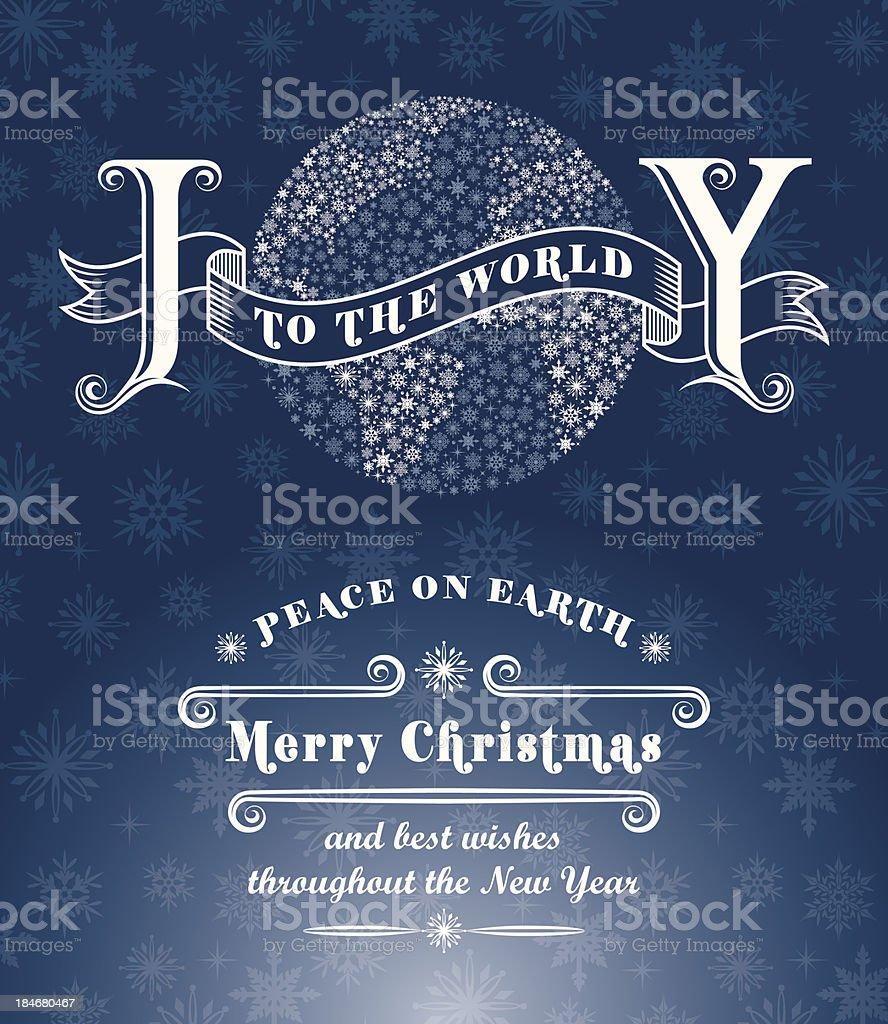 Joy to the World Christmas Card vector art illustration
