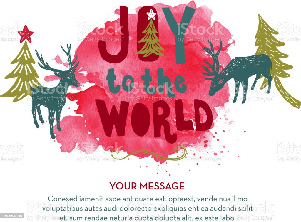 Joy to the World hand lettered Christmas Holiday greeting design vector art illustration