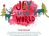 Joy to the World hand lettered Christmas Holiday greeting design