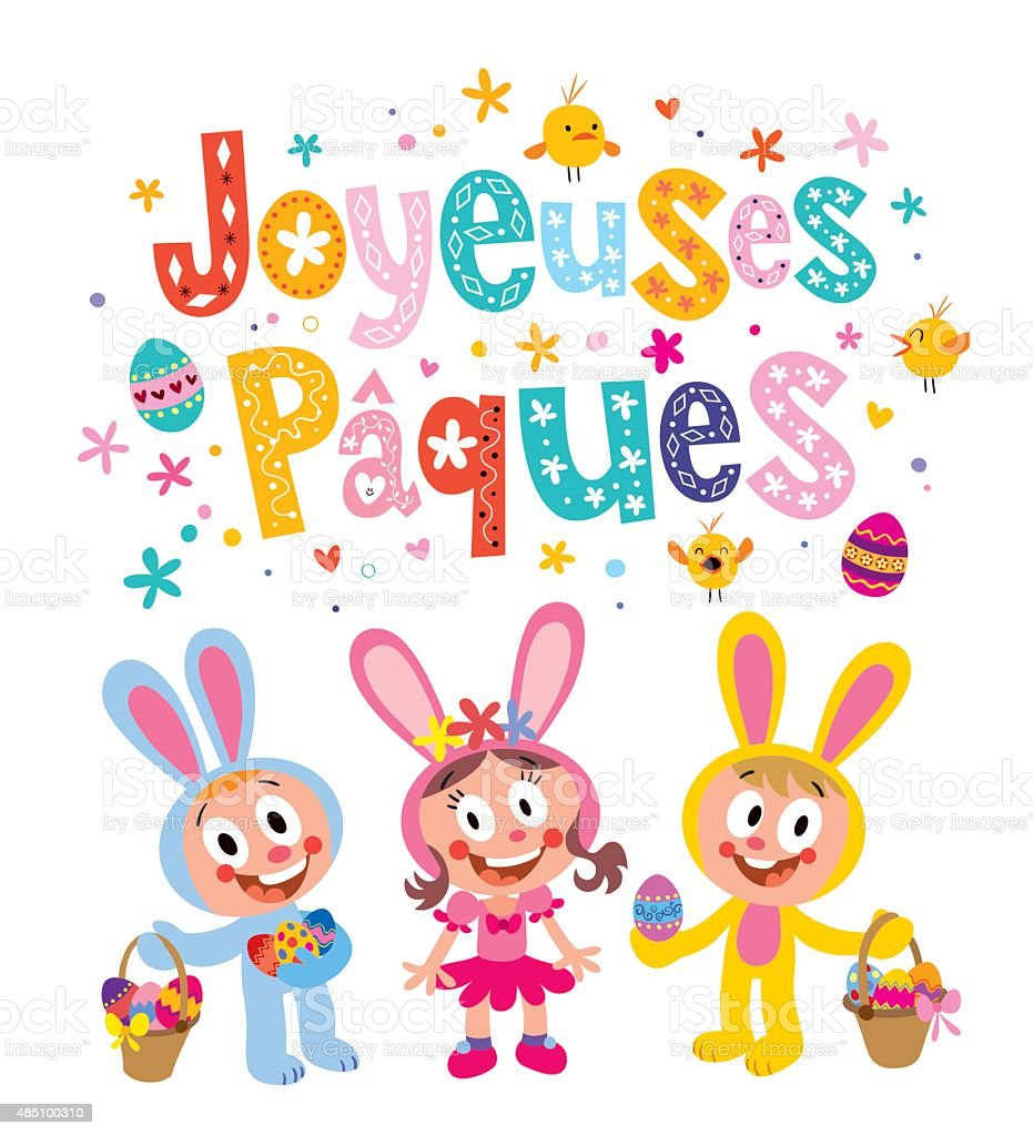 Joyeuses Paques Happy Easter in French greeting card vector art illustration