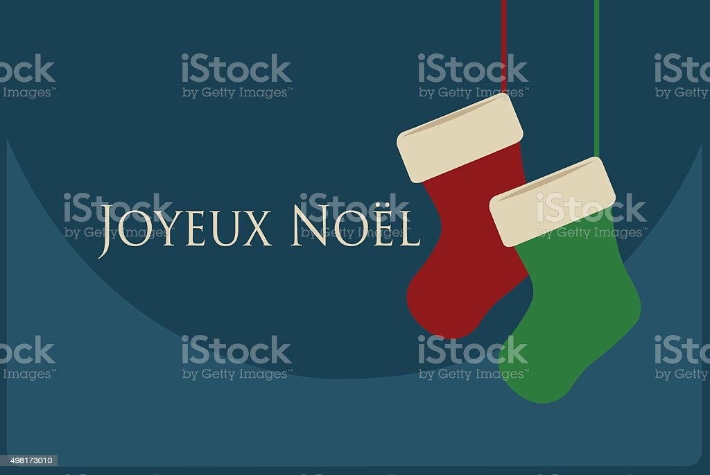 joyeux Noel card with red and green Christmas Socks royalty-free stock vector art