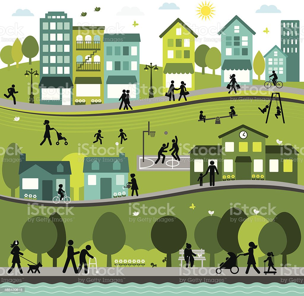 Joyful and Active City vector art illustration