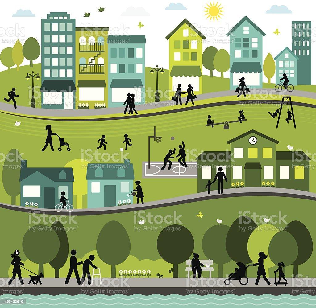 Joyful and Active City vector art illustration