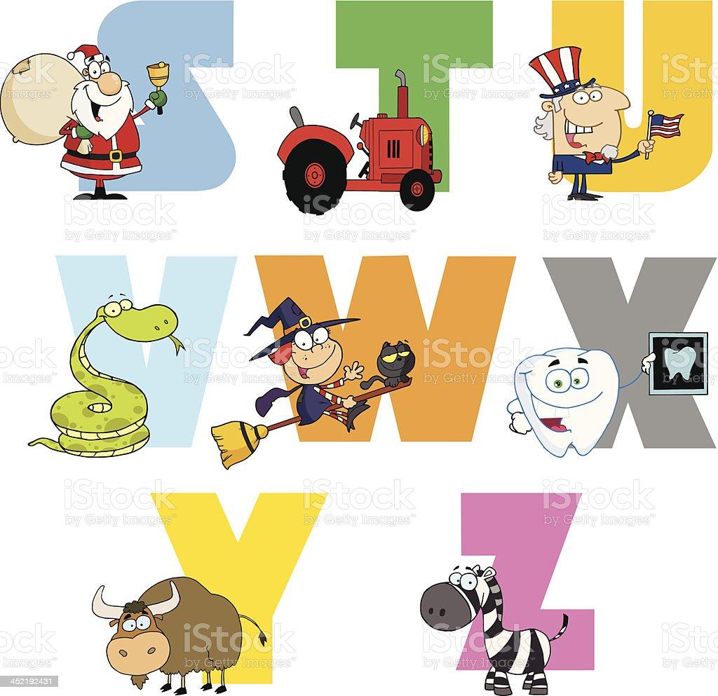 Joyful Cartoon Alphabet royalty-free stock vector art