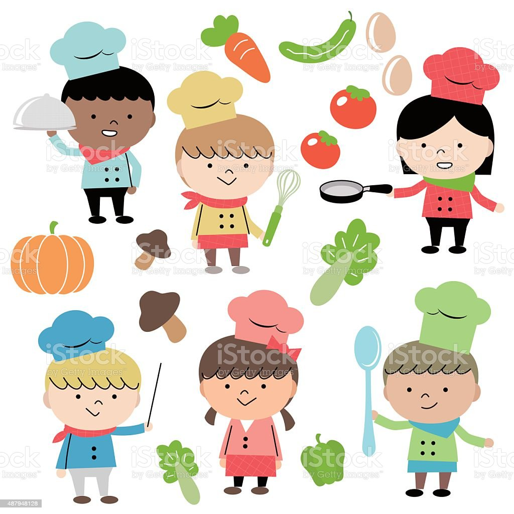 Joyful Group Of Multi Ethnic Children Chef (6 kids) Cooking vector art illustration