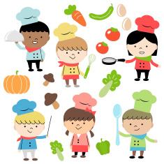 Joyful Group Of Multi Ethnic Children Chef (6 kids) Cooking vector art illustration