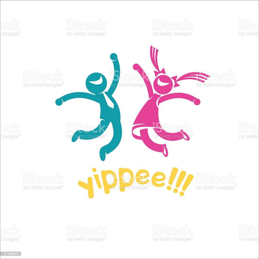 Joyful, happy people. Yay! Man and woman jumping of joy. vector art illustration