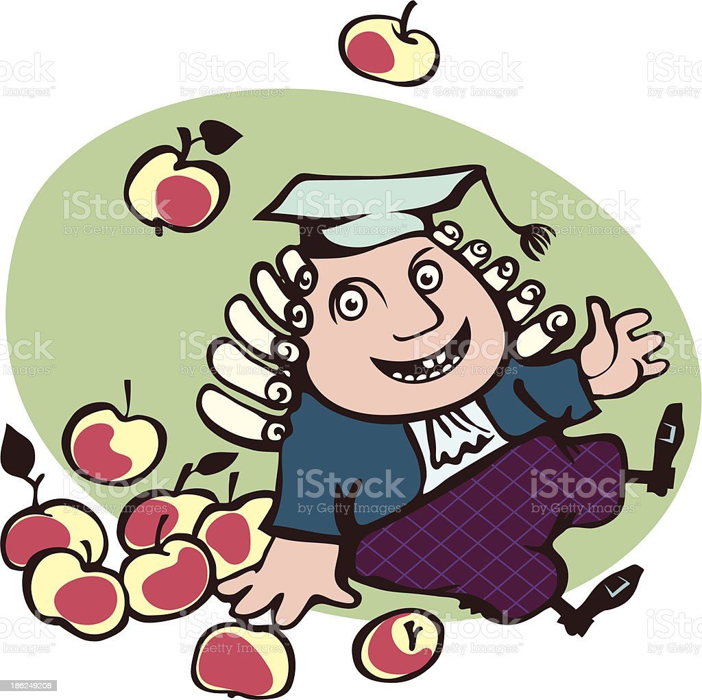 Joyful Isaac Newton sitting surrounded by apples royalty-free stock vector art