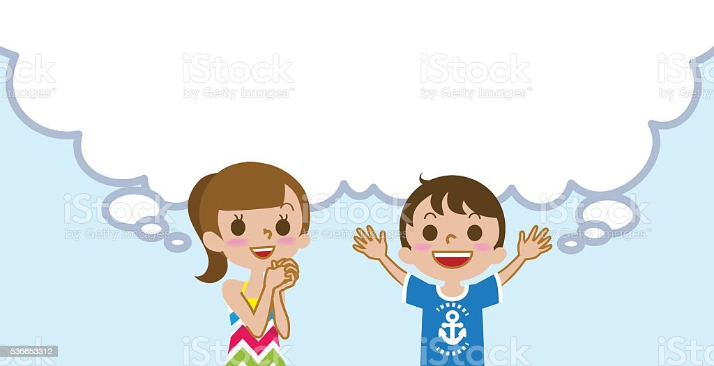 Joyful Two kids with empty thought bubble ,Summer fashion vector art illustration