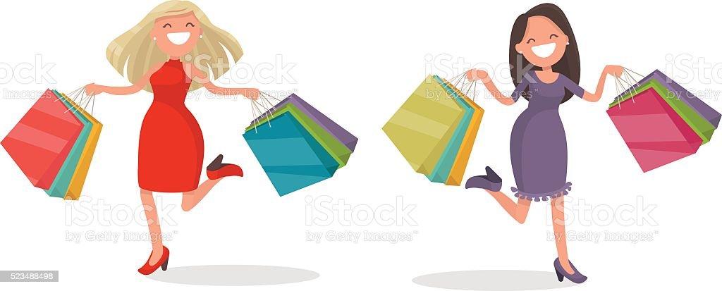 Joyful woman with shopping. Vector illustration vector art illustration