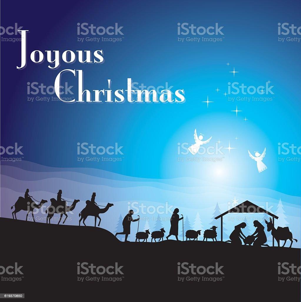 Joyous Christmas vector art illustration
