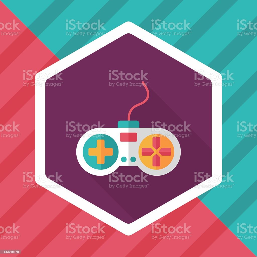 joystick flat icon with long shadow,eps10 vector art illustration