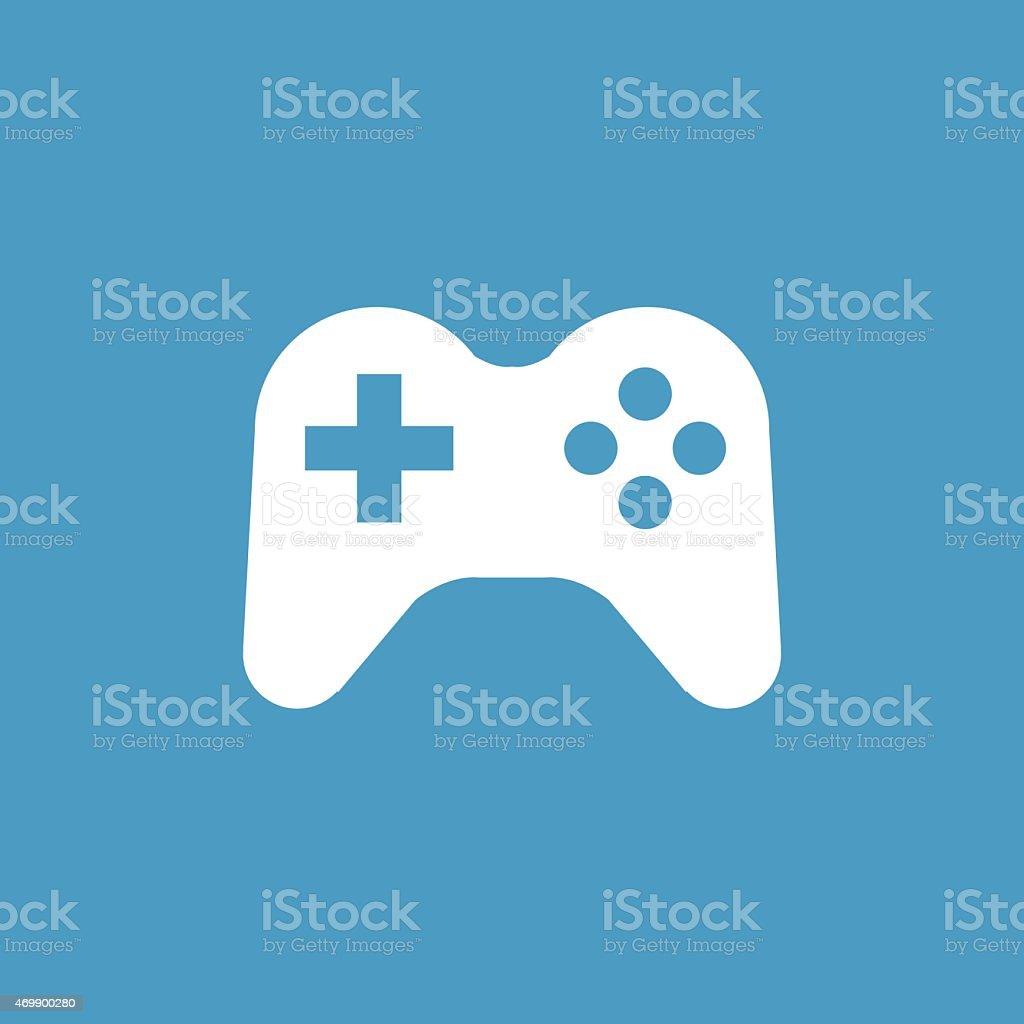 joystick icon, white on the blue background vector art illustration