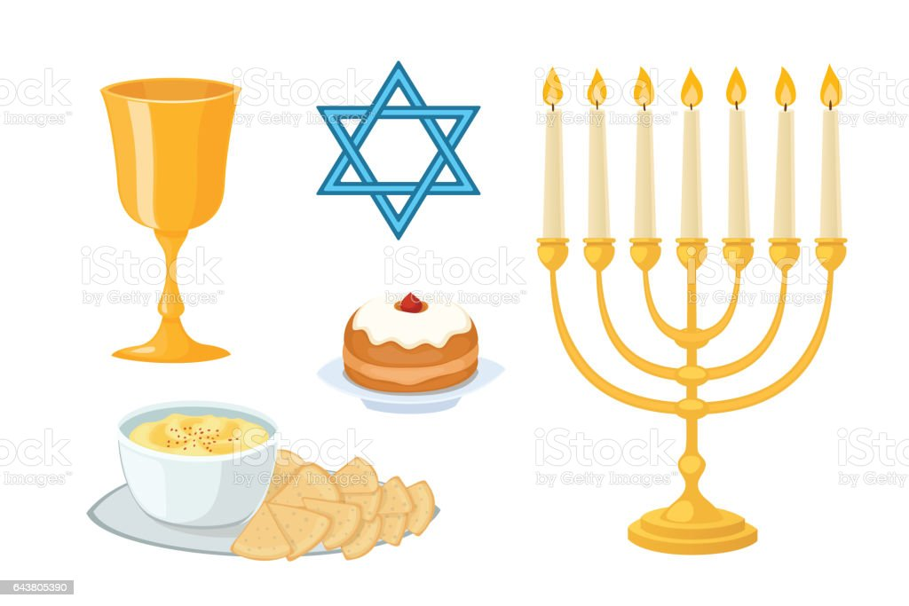 Judaism church traditional symbols icons set isolated hanukkah religious design and synagogue passover torah menorah holiday jew vector illustration vector art illustration
