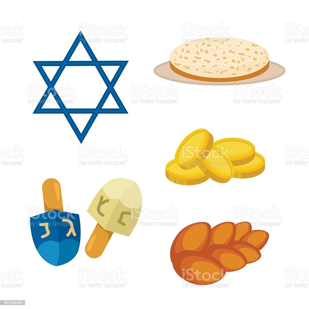 Judaism church traditional symbols icons set isolated vector illustration vector art illustration
