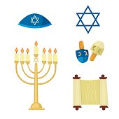 Judaism church traditional symbols icons set isolated vector illustration